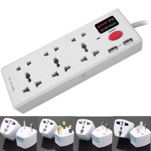 Universal AC extension wall socket plug socket usb with 6 universal Outlets 2 USB port USBHUB electric switch power plug adapter
