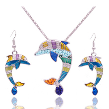 2016 Summer Enamel Dolphin Jewelry Sets For Women Animal Dolphin Necklace Earring Set Unique Ethnic Sea Jewelry