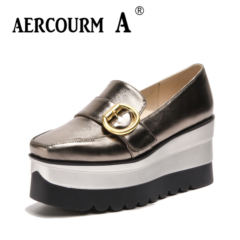 Aercourm A 2018 Spring Women Wedges Shoes Female PU Waterproof Taiwan Shoes Woman Soft Casual Metal Round Toe Shoes Black GXZM88<br>