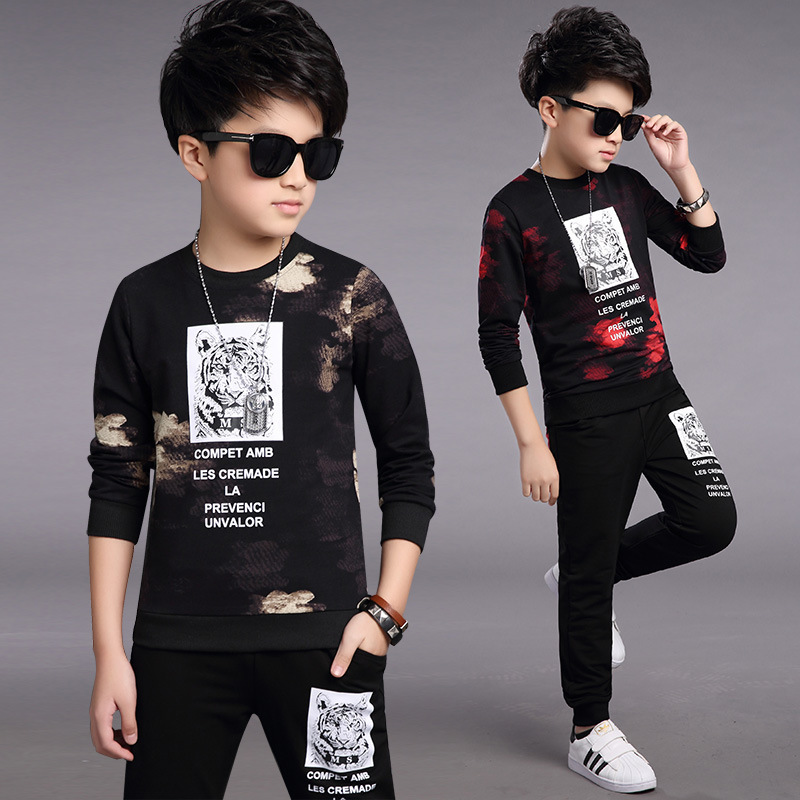 2017 new boys spring tracksuits tiger children set red black long sleeve sport suit tshirt + pant for 7-11 12 13 14 years boys<br><br>Aliexpress