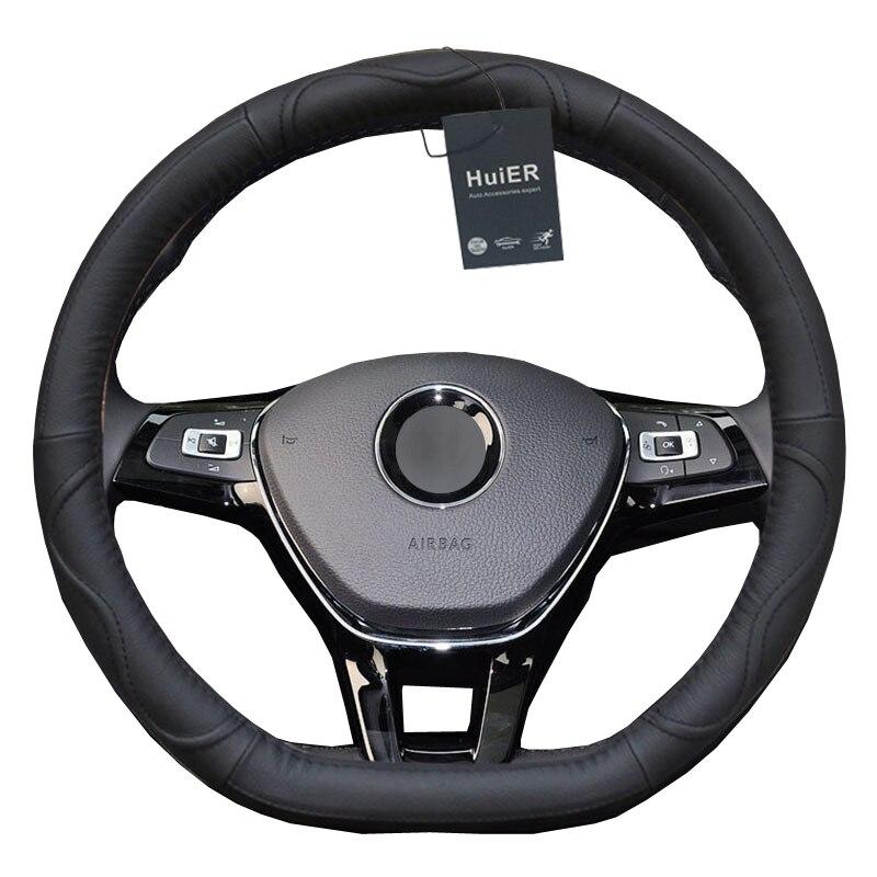 08 Car Steering Wheel Cover D Shape PU Leather For Volkswagen VW Golf R Alltrack Passat jetta Audi TT Renault Citroen Peugeot