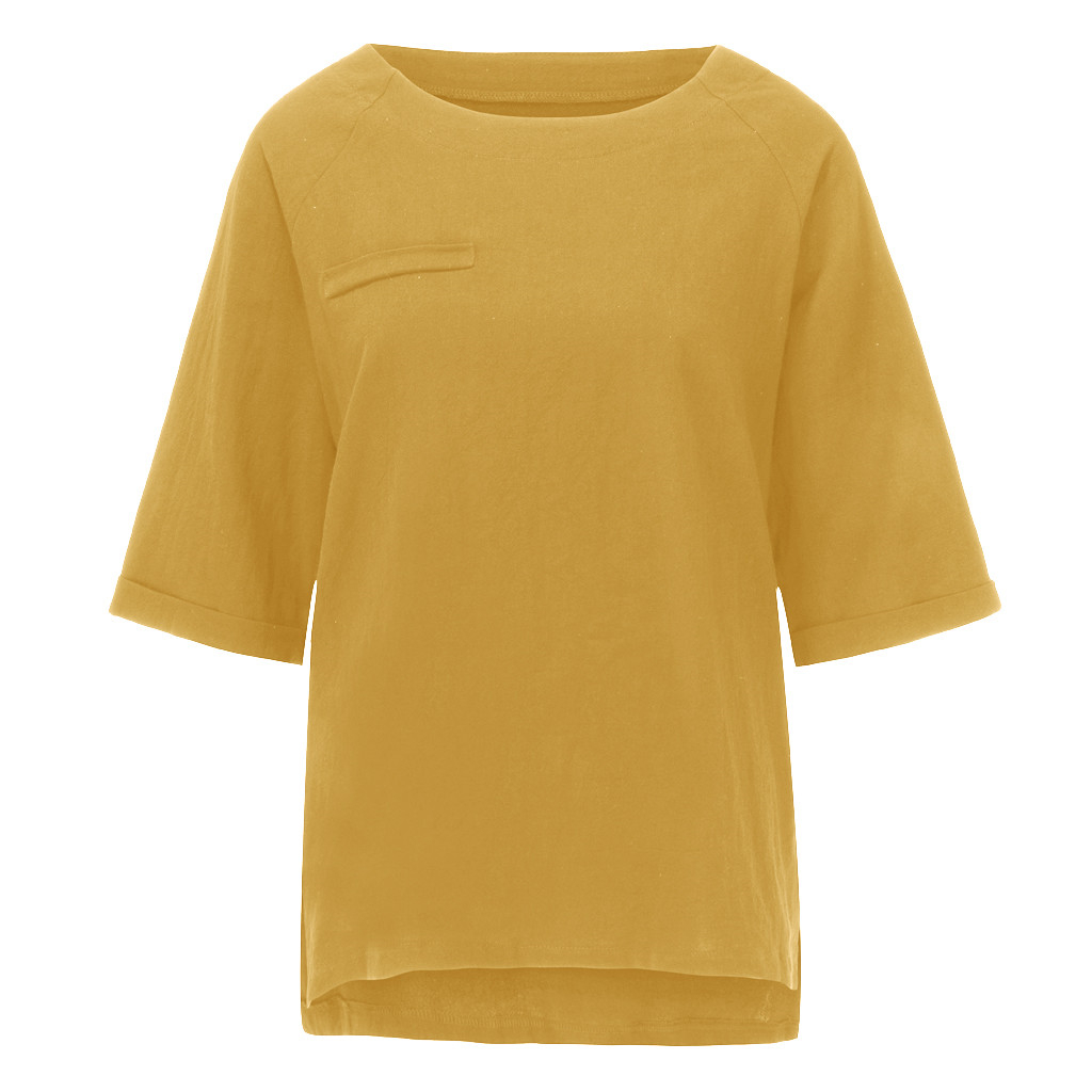 JAYCOSIN Women Fashion O-Neck Solid Three Quarter Sleeve Cotton Tops Blouse T-shirt Pure Color Off Shoulder Shirt Ladies 720