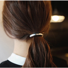 Fashion Personality Alloy Hemicycle Ring Hair Band Cuff Wrap Ponytail Holder Elastic Punk Hair Metal Ornaments Rope Hair Jewelry