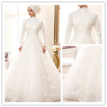 Modern Plus Size Saudi Arabia Long Sleeve High Collar Lace Muslim Wedding Dress Dubai Hijab Muslim Bridal Wedding Gown gelinlik