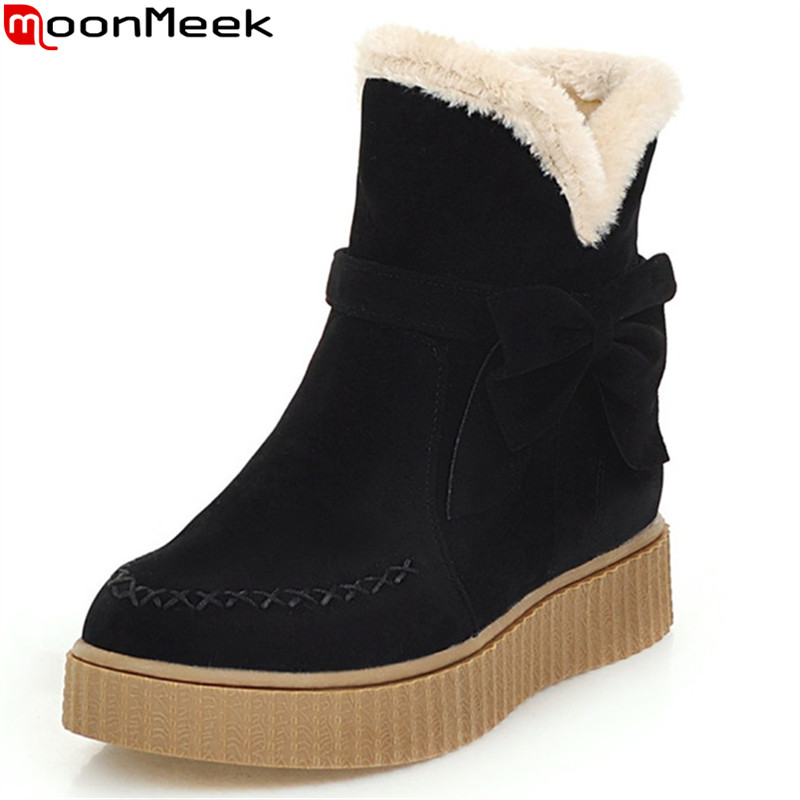 MoonMeek flock black beige women boots flat with round toe bowknot ladies snow boots Keep warm comfortable ankle boots<br>