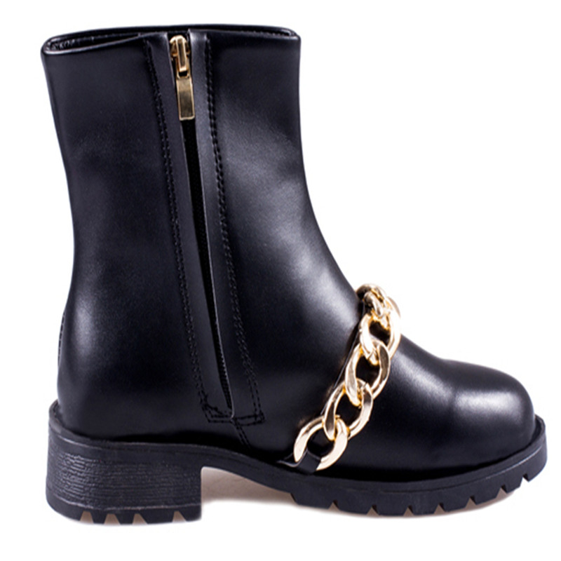 COOTELILI New Brand Autumn Women Leather Ankle Boots Heels Shoes Metal Chain Side Zipper Martin Boots Free Shipping<br><br>Aliexpress