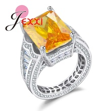 JEXXI Fashion Rectangle Yellow Crystal Finger Rings 925 Sterling Silver Jewelry for Women Girls Wedding Party(China)