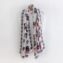 Butterfly skull printing simulation silk scarf spring and summer sun shade fashion shawls scarves