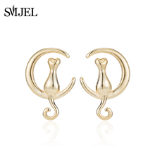 SMJEL New Year Tiny Cat Tail Stud Earrings for Women Cat Siting On the Crescent Moon Earings Jewelry Girl Birthday Gift S235(China)