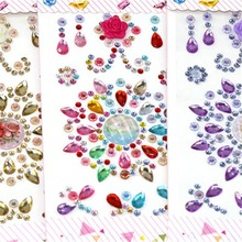 1Set 17*8.5cm Multicolor Flower Motif Acrylic Rhinestones Stickers Phone PC Car Art Decals Bags Beauty Decor DIY Accessories 9Z