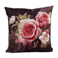 Flower Printing Dyeing Peony Sofa Car Bed Home Decor Pillow Case Cushion Cover coffee