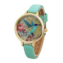 MALLOOM Fashion Blue Hummingbird Women Leather Band Quartz Movement Wrist Watch Relojes de mujer #XG