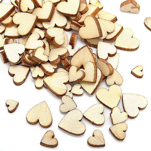 100 Pcs Wood Love Heart Shape Buttons Table Scatter Craft DIY Wedding Decor(China (Mainland))