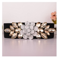 Vanled Elegant Wide Elastic Corset Belt Women Jeweled Girdle Rhinestones Floral Belts Luxury Crystal Retro Girls Ceinture