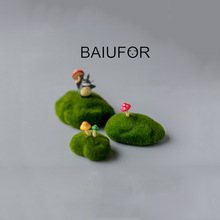 BAIUFOR Flocking Moss Stone Foam Rock Model Fairy Garden Miniatures DIY Terrarium Figurines Desktop Decor Home Accessories