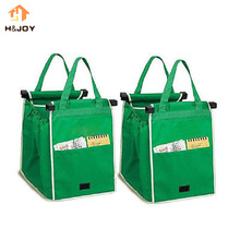 2 Pcs/Lot Reusable Large Trolley Clip-To-Cart Grocery Grab Bags Portable Green Cloth Bag Foldable Tote Handbags As seen onTV