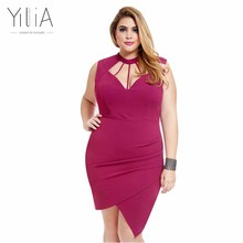 Buy Yilia Plus Size Dresses XXXL Summer 2017 Sexy Party Dresses Women Clothing V Neck Hollow Sleeveless Split Bodycon Zip Pink for $16.99 in AliExpress store