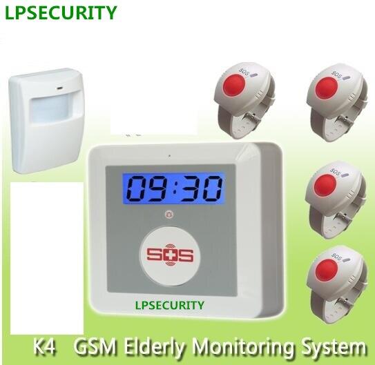 LPSECURITY 16 wireless alarm zones GSM senior daily life SOS GSM home alarm system elderly care alarm emergency call system<br>