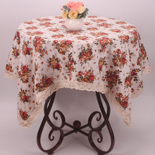 Pastoral British Countryside Style Roses Floral Tablecloth Vintage Beige Cotton Linen Table Cloth Cover for Coffee Tea Tables