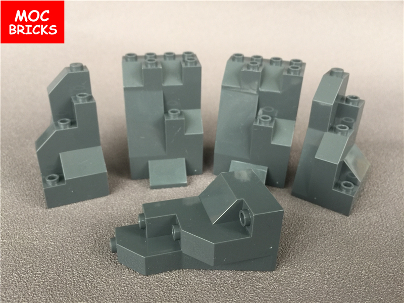 10 Dark Grey Rock Panels 5 x Triangular Lego 6083 6082 5 x Rectangular