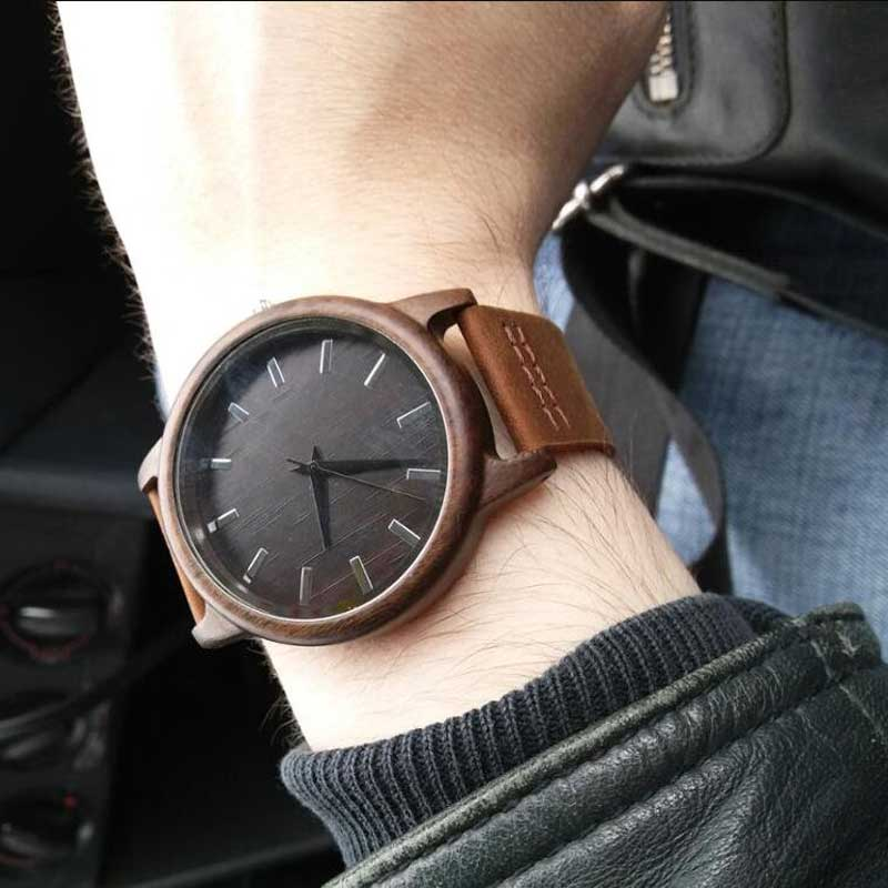 17Men's Clock Black Vintage Saat Wooden Watches With Real Leather Band Design Man Top Brand Quartz Watches Round With Gift Box 7