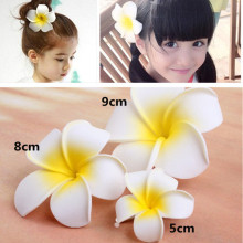 5 Pcs/lot New 9cm/8cm/5cm Size Foam Frangipani Fake Egg Flower Hairpin/ Kids Hair Clips Hawaiian Beach Hair Accessories