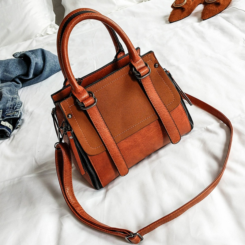 Women Suede Nubuck PU Leather Handbag Vintage Shoulder Bags Retro Motorcycle Messenger Bag  Female Small Satchel Top Handle Bag<br>
