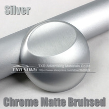Free shipping Silver Matte Chrome Brushed Metallic Vinyl Film Sticker Bubble Free Brushed Metallic Car Wrapping(China)
