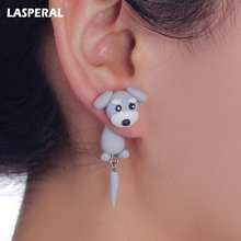 LASPERAL Handmade Cute Lovely Schnauzer Dog Earrings With tail polymer Clay Stud Earrings For Women ear Jewelry Animal Earrings(China)