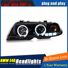 Auto Lighting Style LED Head Lamp for BMW E46 headlights 1998-2002 for E46 LED angle eyes drl H7 hid Bi-Xenon Lens low beam(China)