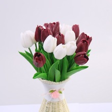 CCINEE 10PCS Wholesale Pu Artificial Tulips For Home Decoration /Artificial Flower Bride Holding Flowers For Wedding