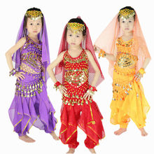 Children Belly Dance Girls Indian Costume Set 5-piece (Top, Belt, Pants, Headpiece, Bracelets) Bollywood Dance Costumes for Kids