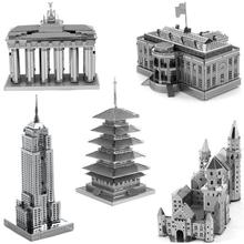 PROMOTION!3D Metal Puzzle Empire State Building The White House Neuschwanstein Castle Blankenburg Door Japan's five-story pagoda