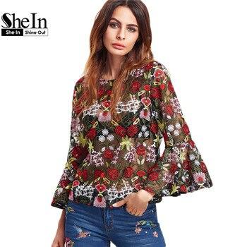 Shein forman la blusa para mujer tops y blusas multicolores encuadre de tres cuartos de manga flare flor bordado de malla superior
