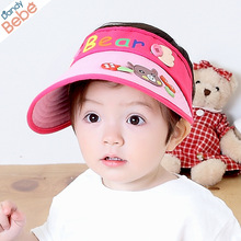 Korean fashion label bear children's empty hat cap tide boys and girls summer sun visor sun hat cap