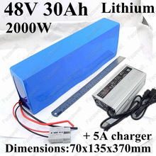 Power li-ion battery 48v 30ah lithium battery pack BMS 50A battery 48v 1000w electric scooter bike 2000w 48v + alloy 5A Charger(China)