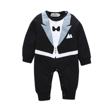 Baby Boy Clothes Gentleman Baby Rompers Boy Suit Tuxedo Black White Cotton Bow Tie Jumpsuit Long Sleeved Crava Spring Autumn V20