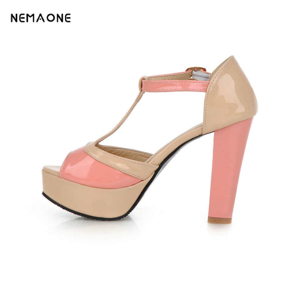 NEMAONE Women Sandal Square High Heel Platform Women Shoes Slingback Peep Toe PU Leather Ladies Wedding Shoes Size 34-43<br>
