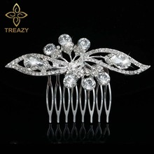 TREAZY Silver Plated Crystal Leaf Waterdrop Floral Bridal Hair Combs Diamante Wedding Hair Jewelry Accessories Slide Clip Tiara