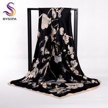 [BYSIFA] Women Black Beige Square Scarves New Floral Design Matt Satin Silk Scarf Shawl Autumn Winter Neck Head Scarf 100*100cm