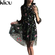 Kliou2017 Spring women dress Female Beautiful Embroidery Flower Perspective Gauze Lace Slim One-piece Dress with Lining Dress