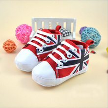 Infant baby shoes girl union flag canvas shoes soft sole first walkers toddler girls shoes prewalkers boy high top shoes