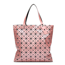 2016 new design diamond lattice women handbags PVC plaid geometry baobao bag hot top-handle folding female tote shopper bags(China)