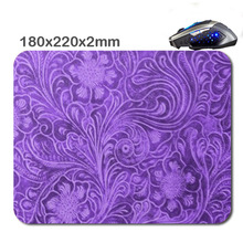 Custom 180 x220x2mm Elegant Purple Leather Look Floral Embossed Design Mouse Pad - Stylish, durable office accessory and gift