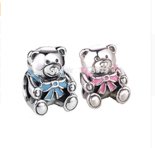 Original 925 Sterling Silver pink bow Teddy Bears Charm Fits Bracelets Top Quality Jewelry