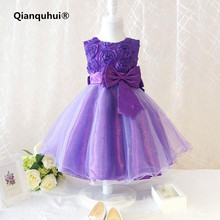 Qianquhui 2017 New Fashion Flower Girl Princess Lace Bow Dress Toddler Wedding Party Pageant Tulle Girls Dress With Buyer Shows(China)