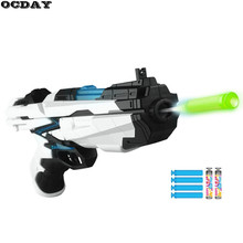 OCDAY Toy Gun Manual Shooting Cyber Hunter Soft EVA Bullets Far Shooting Range Hand Gun ABS Body Outdoor Game Fight Toys For Kid(China)