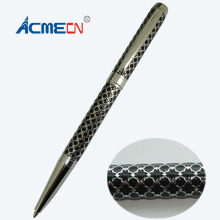 Unique Design Brass Ballpoint Pen Embossing Pattern 28g with brand refill Metal Slim Unisex Branded Pens Factory Writing Pens(China)