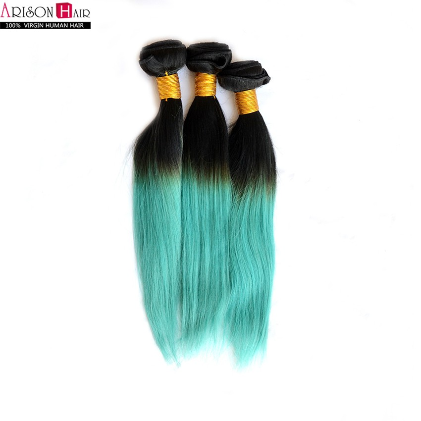 12-24 1Pc Lot 7A 1B/green Ombre Hair Extensions Ombre Brazilian Human Hair Weave Bundles Teal Ombre Brazilian Straight Hair<br><br>Aliexpress