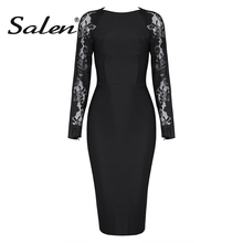 Buy Salen Sexy Lace Midi O Neck Bodycon Lady Dress Elegant Solid Full Sleeve Autumn Women Bandage Party Dress Vestidos 2017 New for $24.12 in AliExpress store